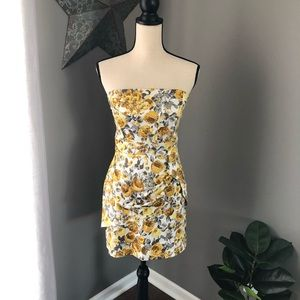 Speechless | Gray/Yellow Strapless Floral Dress